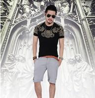 XNAN 2014 new Baroque gilt printing Lycra men's tide T577 flower short-sleeve T shirt Comfort T-shirt For Metrosexual men