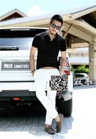 XNAN 2015 new England small lapel cotton pique short sleeve T shirt lapel Men Slim net color shirt Metrosexual men