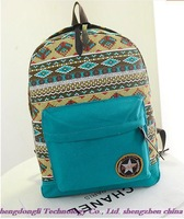 Free shipping! Wholesale, high quality fashion new national wind canvas backpack, stars schoolbag, travel bag
