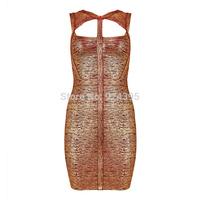 2014 Summer New arrival Best Quality gold foil print cut out  HL Bandage dress Ladies Evening dress Party wholesale