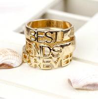 Fashion 18K Gold Plated Letter Forever Best Friend Alphabet Rings 3Pcs/Set