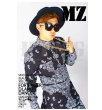 New MZ bigbang rights Zhi long black and white paisley shirt with culottes DJ nightclub singer