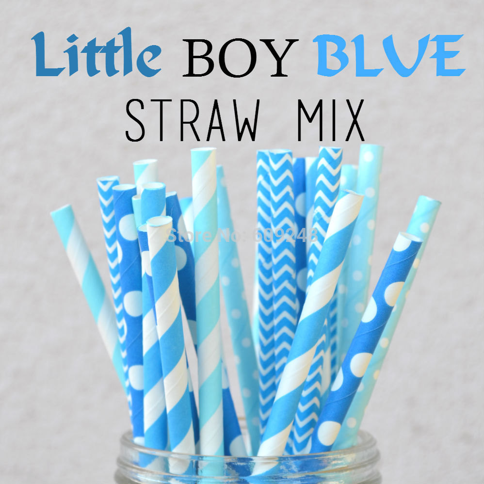 100pcs mixed colors little boy blue paper straws boy baby shower