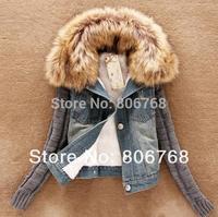new high quality women fashion big fur collar Cotton Splicing woolen yarn sleeve cowboy short coat free shipping
