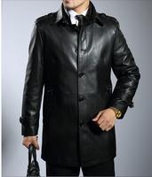 Men Genuine Leather Jackets Sheepskin Leather Trench Coats Shoulder Strap Casuel Gentleman Black Brown 2014 Autumn Winter Blazer