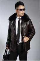 2014 Winter Genuine Leather Men Plus Velvet Formal Leather Clothing Male Medium-Long Fur Collar Leather Clothing coat Suit