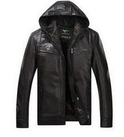 Free shipping 2014 new men leather jacket men's leather jacket add wool sheepskin leather men genuine leather jacket hooded