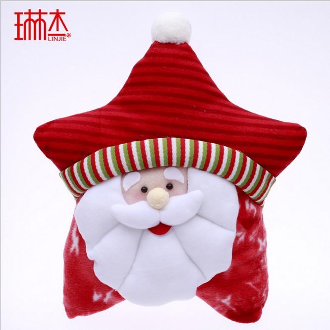 28cm Christmas Star shape Cushion Santa Claus Sofa Pillows home decorate luxury custom pillow For Christmas Supplier Free ship(China (Mainland))