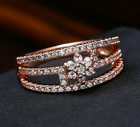 Brand New Rose plated AAA+ Swiss zircon three row flower classic state jewelry rings Fashion women state jewelry