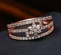 Brand New Rose plated AAA+ Swiss zircon three row flower classic state jewelry rings Fashion women state jewelry