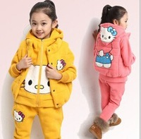 wholesale 2014 boy girl new  style fashion children clothing Thickening and velvet boys children's wear three suits winter 8368