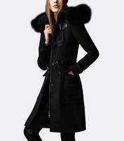 Woolen coats new 2014 fashion fur collar horn button woolen cashmere winter coat women parka long overcoat