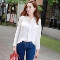 Casual Loose Female Chiffon Shirts Brief Pure Color Bodycon Long Sleeve V-neck Cardigan Fashion White Camisa  Verao 3305