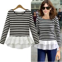 Long sleeve Striped slim T Shirt women elegant fashion chiffon shirt tops knitted casual tees patchwork peplum tshirts(China (Mainland))