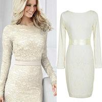 2014New Autumn And Winter Women Lace Long-Sleeved Women's Dresses Slim Dress High-End Women Autumn Dresses White Milk Color M-XL