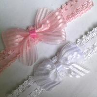 Wholesale 24pcs Glitzy Bow Lace Headband Stripes Organza Bow Infant Newborn Headwrap Pink White Baby Strechy Hairband