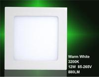12W AC85-265V 880LM 3200K Warm White Square LED Panel Light (White)