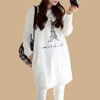 Korean Women Fashion Eiffel Tower Printed White Maxi Cotton Tops Casual Loose Big Size Autumn Winter Basic Blusa Impressao 7429