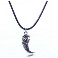 The New 2014 Europe and America exaggerate personality alloy horn pendant leather cord necklace
