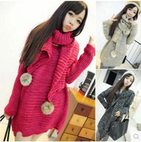 free shipping wholesale 2014 new Korean   The scarf turtle neck long sleeve pullover The scarf turtle neck long sleeve sweater
