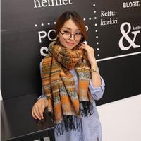 Wholesale jacquard fashon shawl tassle square colorful autumn cotton knitted neckwarm scarf winter pashmina women