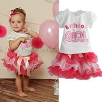 2014 New 2pcs Cloth suit baby short sleeve Happy birthday t shirt +Bow tutu layered cake skirts girl summer clothing set