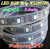 5m/roll 160leds/roll WS2801 IC Black PCB Dream Color smd5050 9.6w/m RGB LED Strip Addressable DC5V IP67 Waterproof