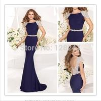 Hot Sale Bling Fashion Tarik Ediz Cap Sleeve Floor Length Evening Dresses Sexy Backless Waist Beaded Night Long Prom Dresses