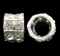 Free shipping!!!Rhinestone Zinc Alloy Beads,Jewelry For Women, Drum, silver color plated, with rhinestone, nickel
