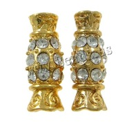 Free shipping!!!Rhinestone Zinc Alloy Beads,Designer, Candy, gold color plated, with rhinestone, nickel, lead & cadmium free
