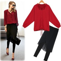 2014 European and American fashion  women's  loose collar shirt + black culottes free shipping