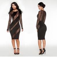 2014 New Vestidos Femininos Women Long Sleeve Autumn Dress evening club dress  Elegant Work Dress Bodycon Bandage Dress