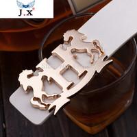 2014 new fashion men's belt PU leather belt brand, smooth buckle casual women belt Wide