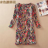 Vintage Women Spring Autumn OL Dresses Long Sleeve O-Neck Slim Printed Pattern Casual Mini Party Dress Plus Size M XXXL CX851691