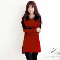 free shipping ! 2014 female sweet long sleeve mini dress girl's peter pan collar solid dress women's autumn loose clothing