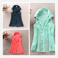 5 size Women fashion Chiffon tank Tops Vest Shirts solid candy 3 color camis chiffon loose top Shirt