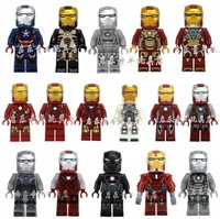 16Pcs Building  Bricks  Blocks Super Heroes The Avengers Iron Man Series Action figures Minifigures ITON PATRIOT Mark 39 42 Toys