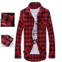 2014 New High Quality Korean Style Full Sleeve men Clothing Brand Stylish Casual Plaid Men Shirt