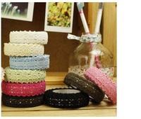 1.8 x 200cm self-adhesive cotton lace Tape Adhesive lace Tape 20 pcs/lot ,28 colors,Free shipping
