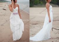 Vintage Sweetheart White Chiffon Handmade Flower Floor Length Beach Wedding Dress Vestido De Casamento Bridal Gown 2014 New