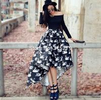 CUTE! black white animal patterns print asymmetrical high low women girls dress mid-calf casual brand dresses 2014 autumn new