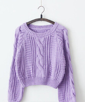 New ! Lovely Slim round neck thick sweater Puff / woman short paragraph solid color sweater