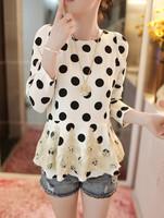 2014 Hot Sale Fashion Girls Chiffon Lace Blouses Tops Dress Loose Long Sleeve Shirt Casual Polka Dot Blouse  Free shipping 88495