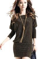 2014 New Desigual Women Winter Dress Casual Dresses Long Sleeve Bat Sleeve Dress Bright Silk Base Gold Silver Bag Hip Dress
