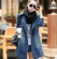 new 2014 winter women desigual coat Jean jacket female long leisure double-breasted trench coats Outwear
