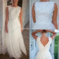 New Arrival Scoop Lace Top White Tulle A-line Floor Length Vestido De Renda Beach Wedding Dress Bridal Dresses 2014 High Fashion
