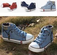 Kids Canvas fashion zipper deco 3 colors lace-up unisex kids sneaker free shipping size 26-37 kids shoes