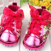 Pretty Baby Kid Girl Floral Shoes Lace Soft Sole Anti-Slip Casual Crib Shoes Free Shipping and Drop Shipping