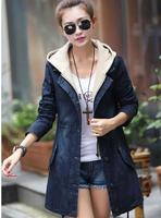 2014 New Women Winter Coat Denim Long Sleeve Hooede Cotton Jeans Coat  Plus size  trench coats Outwear Overcoat