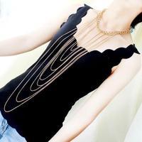 Luxury Fadeless Punk Style Women Big Chunky Gold Body Multilayer Long Tassel Statement Chain Choker Collar Pendant Necklace